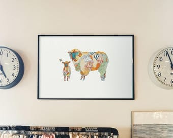 Matted Sheep and Lamb // Limited Edition Fine Art Print // Farm Barn Barnyard Animals Home Decor