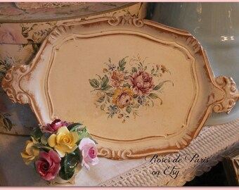 vintage Florentine tray  Wood   cream with roses