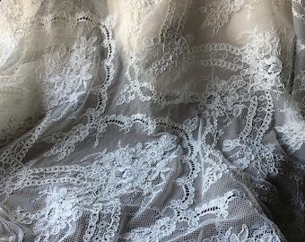 SALE Ivory LACE Corded Eyelash Alencon Lace for Bridal, Bodices AL 30