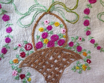 """Embroidered Linen Pillow Fabric  Basket of Flowers Hand Embroidery 18"""" x 14-1/2"""""""