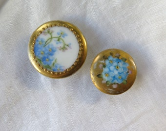 Hand Painted Buttons /Studs in Porcelain with Forget Me Knots and Gilt Set of Two