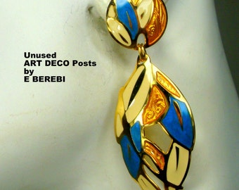 Edgar BEREBI Vintage Enamel Earrings,  Gold, Blue, Off White Dangle Posts, 1980s Art Deco Classic, Pretty and Lightweight, Unused