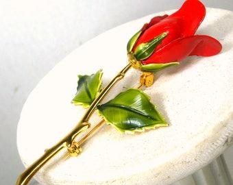 RED Long Stem ROSE Pin 1960s, Dramatic But Elegant Midas Touch GOLD Floribunda Classic Red Bud Brooch