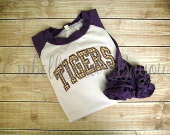 Appliqued Tigers Purple Ruffle Raglan T-shirt  for Girls