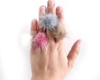 pom pom ring - fuzzy pompon ring - adjustable ring - women's gift - pom pom jewelry - women jewelry