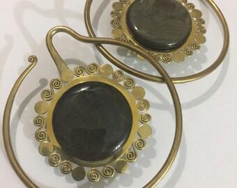 rainbow obsidian/neon yellow xl brass earweights