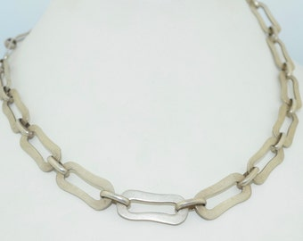 Modernist Sterling Silver Hand Wrought Necklace