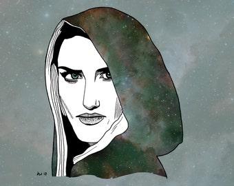 Katie McGrath 'Morgana' - Art Print - 10 x 8