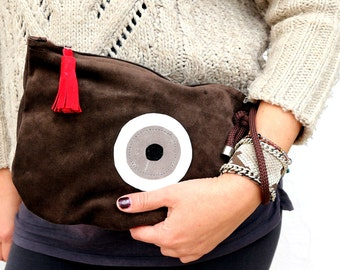 Evil Eye Small Suede Bag in Mocha Brown. Leather Bag. Large Suede Wallet. Womens Gift. Gift for Her. Bohemian Bag. -Atter-