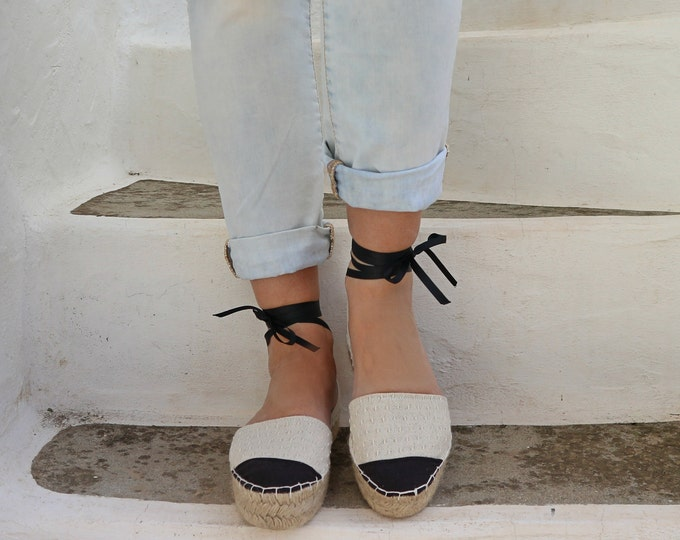 Featured listing image: Espadrille Sandals. Lace up Chanel Style Espadrilles in Cream and Black. Summer Leather and Fabric Shoes. Women's Sandals. Greek Sandals.