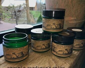 Organic GARDENER'S Herbal Salve with Healing Herbs, Organic Beeswax, Calendula oil, Lavender and Rosemary Essential oil plus Vitamin E
