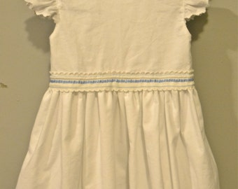SALE! White Cotton Girl Dress Bright Blue &White Vintage Trim Clothing Easter Handmade Natural Fiber Hand-Cut Scallops Cottage Chic Rustic