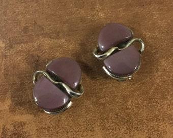 Signed Coro Grape Plum Hued Thermoset Earrings Clip On Silvertone Setting