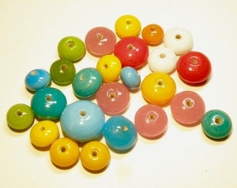 DESTASH -- 25 Assorted Colors and Sizes Opaque Glass Saucer Beads: Random Candy Mix  -- Lot 3J