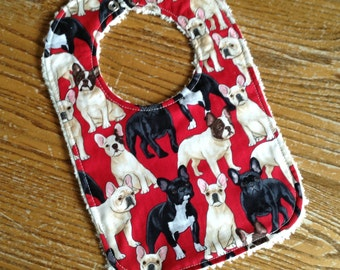 Chenille Back Baby Bib, Snap Closure, French Bulldog, Frenchie
