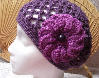 FREE SHIP - Vanna White Dusty Purple Yarn Hand Crocheted Open Mesh Summer Beret Beanie - with a deep pink flower & purple button center