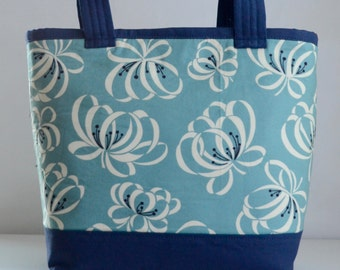 Blue Ribbon Floral Fabric Tote Bag - READY TO SHIP