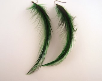 feather earrings green Badger long