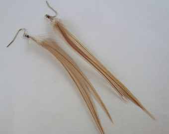 taupe feather earrings Short