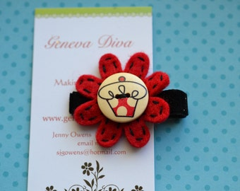 Red and Black Cupcake Felt Flower Hairclip