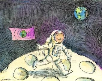 Original ACEO Watercolor Painting and Ink Drawing Artwork -- Moonwalker