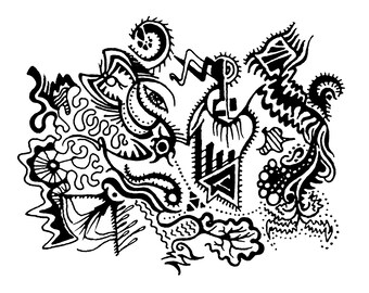 "Abstract detailed pen drawing greeting card zentangle print - ""Leyes"""