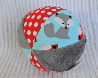 FOX Cloth Jingle Ball Baby Toy with Anne Kelle's Urban Zoologie fabric