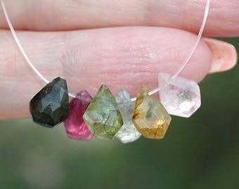 Organic Look Gem Green Watermelon Pink Tourmaline Faceted Rose Cut Pentagon Briolette Drop Beads 6 beads Focal set