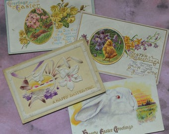 Antique Easter Postcards Rabbits Chick Lilies Embossed