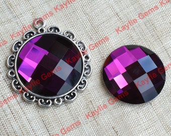 New - Mirror Glass Cabochon cab 25mm Round Checker Cut Faceted Dome -Amethyst Purple - 2pcs