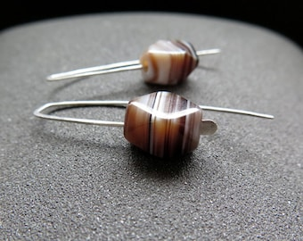 agate earrings. brown stone jewelry. hammered sterling silver earwires.