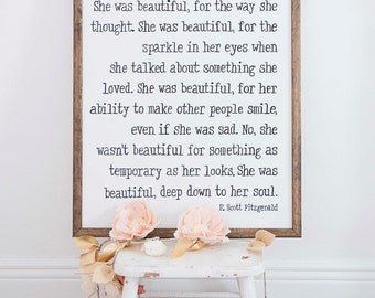 Handpainted Sign, SHE WAS BEAUTIFUL, Wall Sign, Cottage Decor, Modern Farmhouse, Inspirational, Quote, Girl's Room