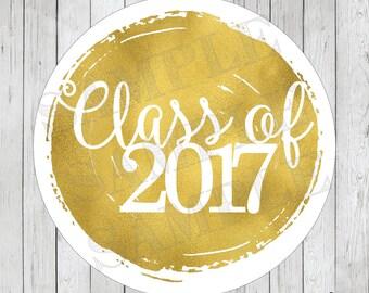 Faux Gold Foil Graduation Stickers, Class of 2017 Labels, Graduation Tags