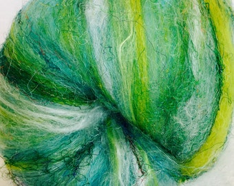 Hand Carded Art Batt, Rose fibre, Merino, Polwarth Spinning wool, Sari silk threads felting ,110g, Vineyard