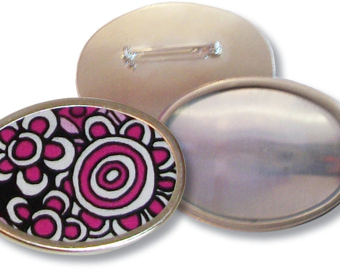 Oval Pin Blank from Ellen Medlock Studio - Silver Finish Metal Craft Fashion Broach Blank (#406)