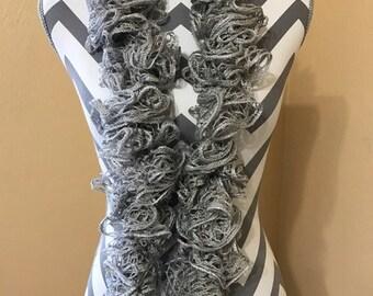 Crochet Scarf, Ruffle Scarf, Woman's Crochet Scarf, Fashion Scarf, Handmade Scarf, Ready to Ship, Frilly Scarf, Sequins Scarf, Sashay Scarf