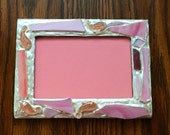 Pink Fish Recycled Stained Glass Picture Frame (holds a 4 x 6 photograph)