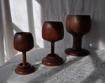 Three Vintage Wood Chalices/Graduated Sizes/Two With Stem Rings/Planters Candle Holders Room Decor