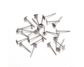 Stainless steel earring post hypoallergenic 12mm x 4mm stud earrings (JF592)