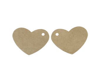 Heart gift tags - blank kraft paper tags - Set of 10 or 50