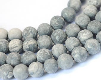 Frosted Natural Picasso Round Beads Strands 4 or 8mm - Grey