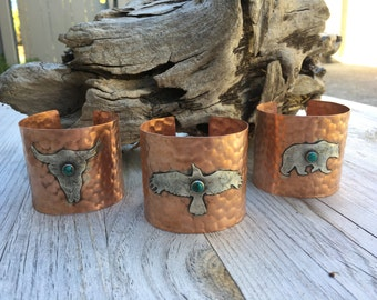 Animal Totem Copper Cuff Bracelet