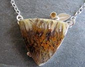 Necklace of Sagenite Agate, Citrine, and Leaf in Sterling Silver