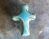 Rich Rustic Turquoise Boho Western Cowgirl Lariat Jewelry Bead Component Ceramic Clay Pottery