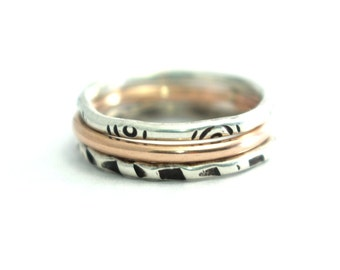Mod Stack Bands, Stack Rings, Set Of 3, Sterling Band, Rose Gold Filled Band, Stack Rings, Custom Rings, Hipster Rings
