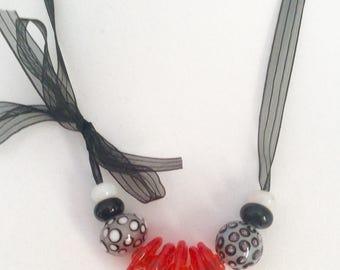 Lampwork beads on ribbon