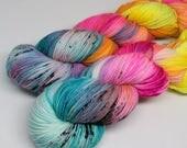Hand Dyed  Speckled Sock Yarn - SW Sock 80/20 - Superwash Merino Nylon - 400 yards  - Blender