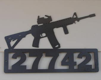 AR 15 Welcome or Address SIGN Home Decor Wall Gun Semi Auto