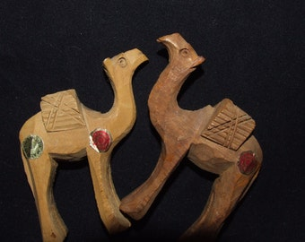 2 Hand Carved Miniature Camel Figurines- Made in Israel- Nativity Scene  1012