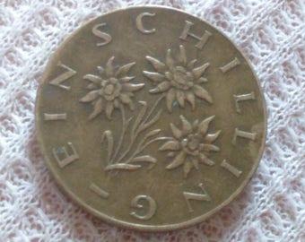 1 Schilling Austria Coin 1967 Edelweiss Flower